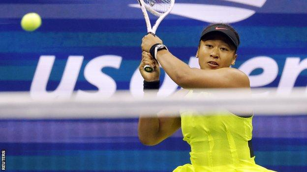 Naomi Osaka in action at the 2021 US Open