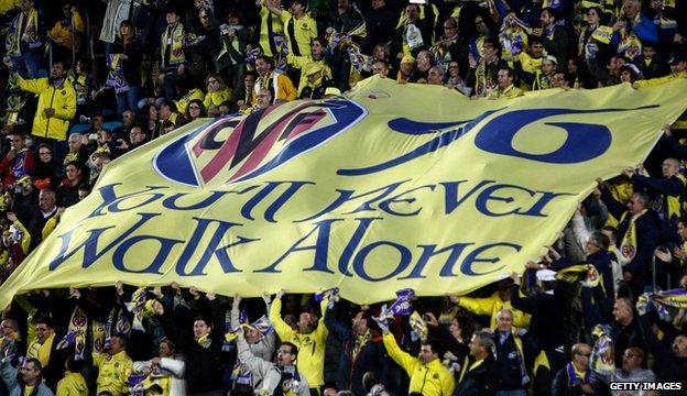 Villarreal fans with banner paying tribute to Hillsborough victims