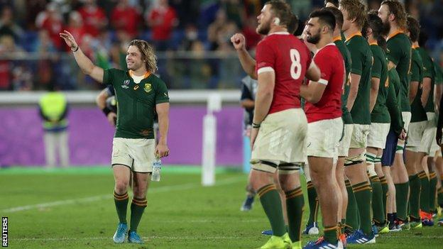 Faf de Klerk celebrating after South Africa beat Wales in the Rugby World Cup semi-final