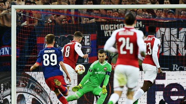Aaron Ramsey scores Arsenal's second in stoppage time
