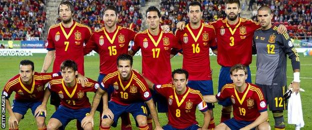 Michu with his Spain team-mates