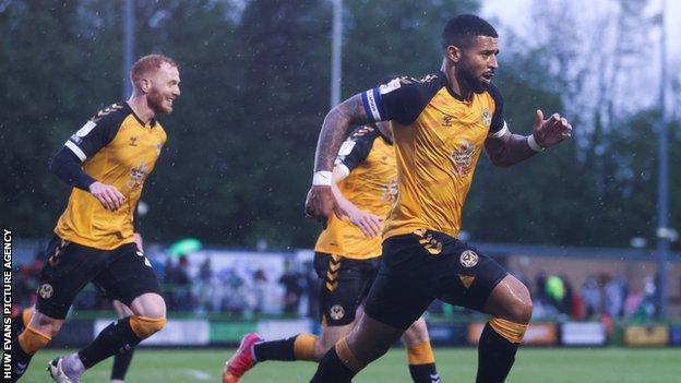 Joss Labadie celebrates after scoring in the second leg over Forest Green