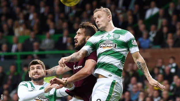 Hearts defender Blazej Augustyn in action against Celtic