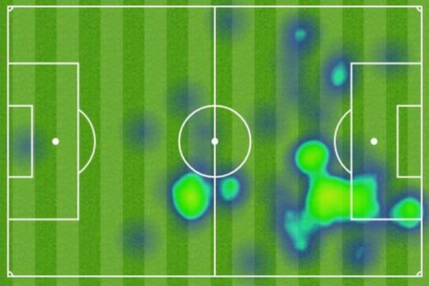 A graphic showing the area covered by Son Heung-min