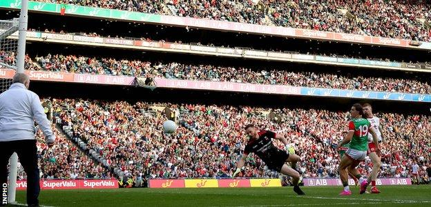 Cathal McShane scores a goal against Mayo