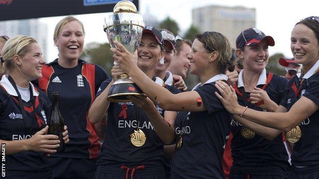 England women celebrate winning the World Cup