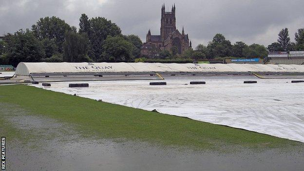Wet outfield New Road