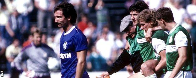 Souness was sent off on his Rangers debut for a reckless challenge on Hibs' George McCluskey