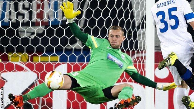 Maciej Gostomski playing for Lech Poznan