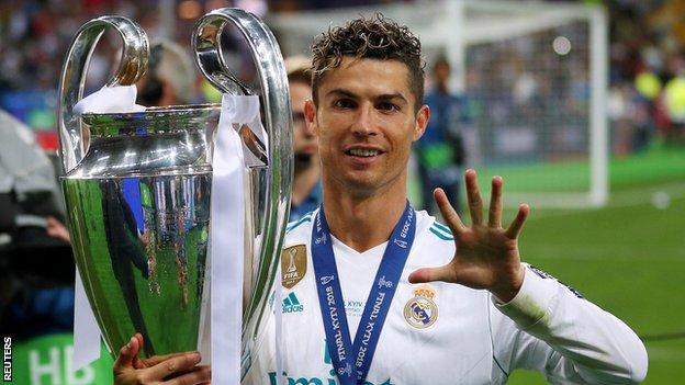 Cristiano Ronaldo with the Champions League trophy