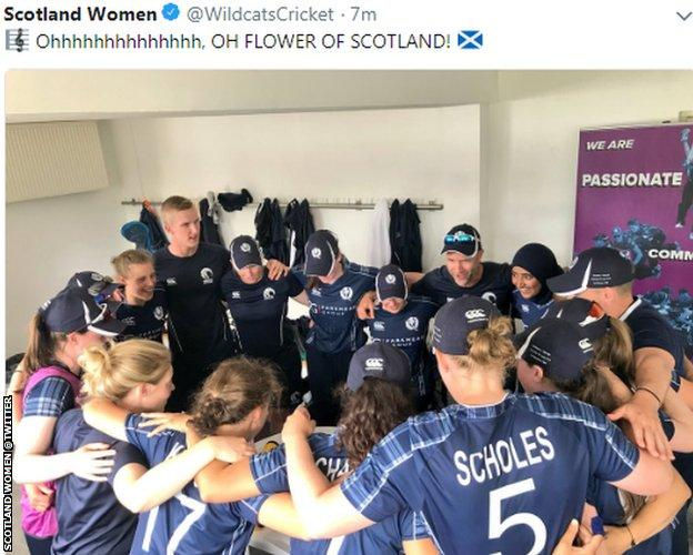 The Scotland team celebrate a convincing opening win in the Netherlands