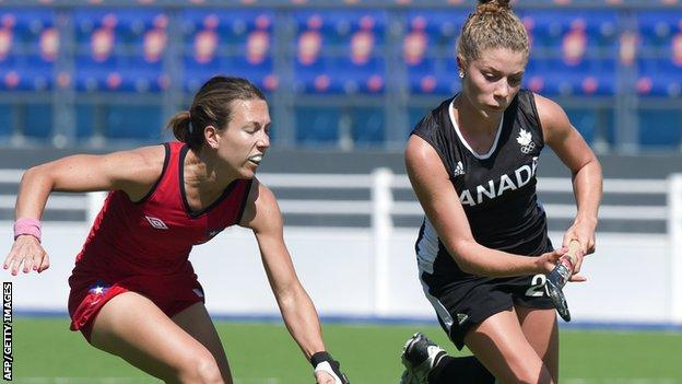 Natalie Sourisseau (right) of Canada vies for the ball with Michelle Wilson of Chile during their match for the bronze medal during the XVI Pan American Games Guadalajara.