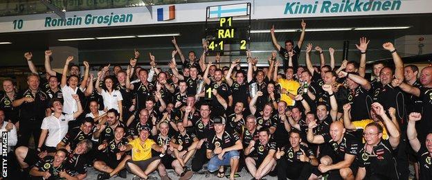 Lotus team celebrates winning the 2012 Abu Dhabi Grand Prix