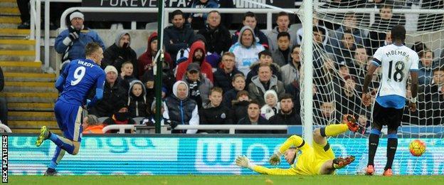Jamie Vardy scores against Newcastle