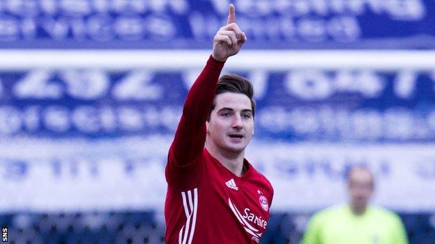 Aberdeen midfielder Kenny McLean celebrates