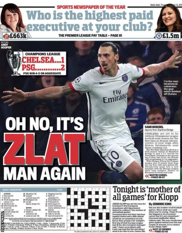 Thursday's Daily Mail back page