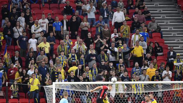 Coronavirus: Fans flout distancing rules in Hungarian Cup final - bbc