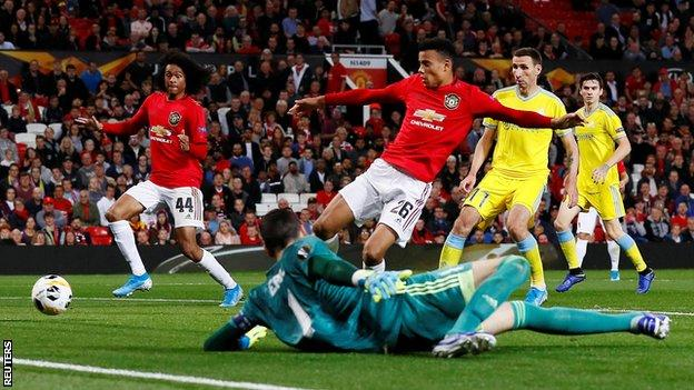 Mason Greenwood (number 26) is the first player born in the 2000s to score a senior goal for Manchester United