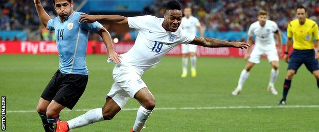 England winger Raheem Sterling in action during the 2014 World Cup