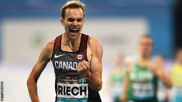 Canadian Nate Riech celebrates as he crosses the line to win the T38 1500m title in Dubai