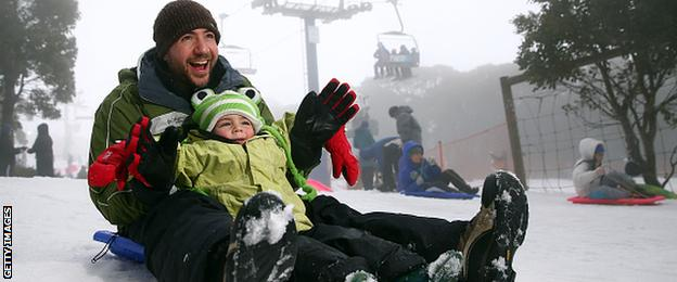 Father and son sledging