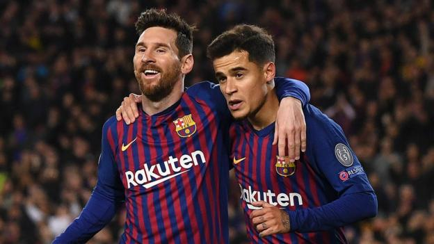 Barcelona 5-1 Lyon: Lionel Messi scores twice as Catalans progress in Champions League thumbnail