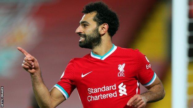 Mohamed Salah celebrates