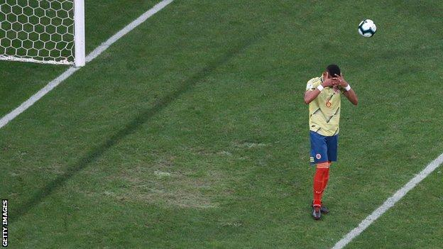 William Tesillo misses a penalty for Colombia v Chile in the Copa America