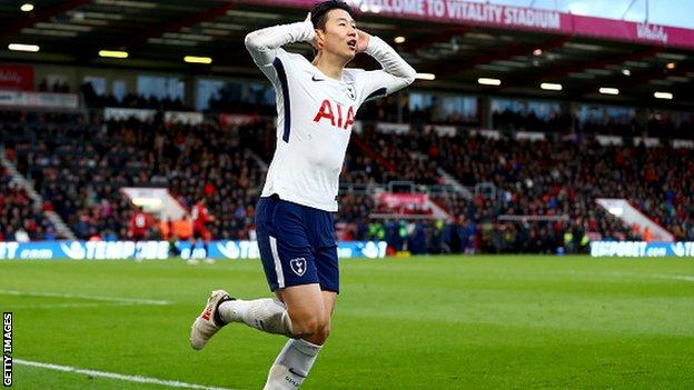 Son celebrates the second goal of an impressive display