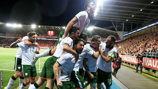 The Republic of Ireland celebrate their winning goal against Wales last October