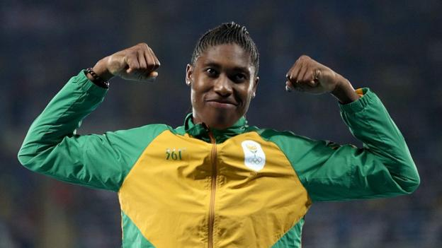 positive news Caster Semenya celebrates a win with her trademark