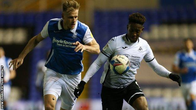 Jamal Lowe made his 41st Swansea appearance of the season in the 1-0 defeat at Birmingham City