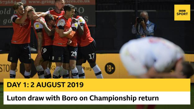 Luton celebrate opening-day against Middlesbrough