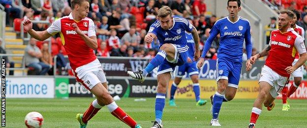 Joe Ralls lets fly at the Rotherham goal for Cardiff City