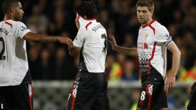 Liverpool's players react at the end of a 3-3 draw with Crystal Palace