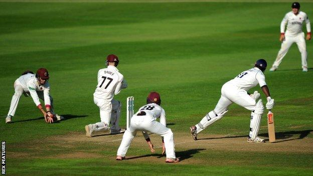 Keith Barker caught at slip by Marcus Trescothick