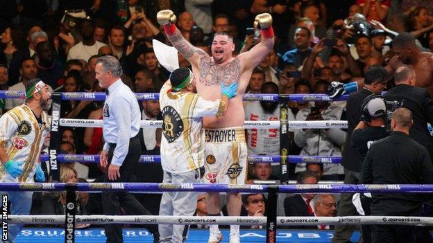 Ady Ruiz celebrates victory over Anthony Joshua, New York