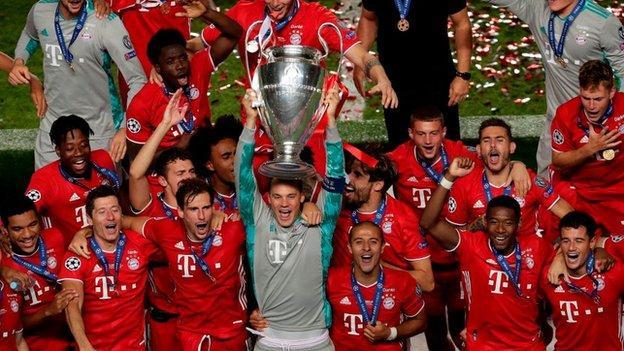 Bayern Munich celebrating winning Champions League in August