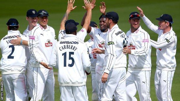 Hampshire players celebrate
