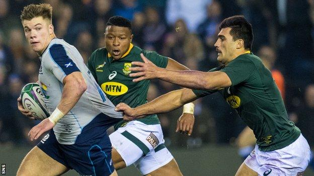 Huw Jones playing for Scotland against South Africa