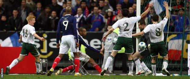 Republic players protest after Thierry Henry's handball during the World Cup play-off against France in 2009