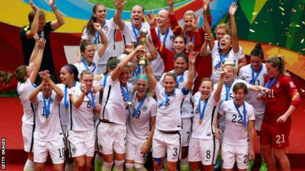 USA celebrating winning the World Cup in 2015