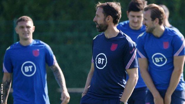 England boss Gareth Southgate in training