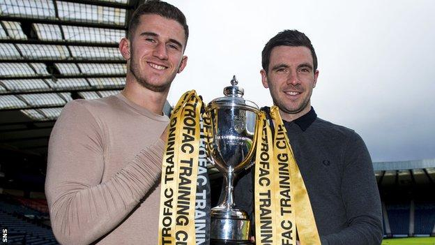 Rangers' Dominic Ball and Peterhead's Steven Noble with the Challenge Cup