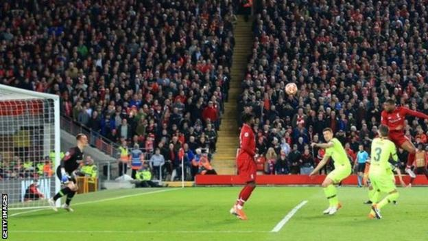 Georginio Wijnaldum scores for Liverpool against Barcelona