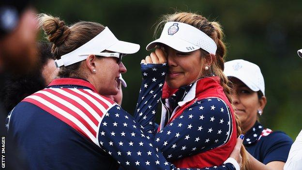 Alison Lee was at the centre of the controversy at the 17th hole during the Solheim Cup