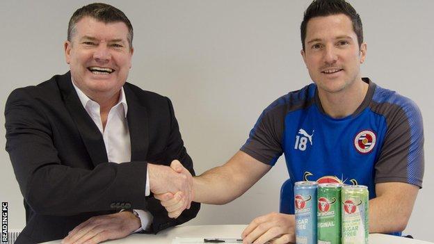Reading chief executive Ron Gourlay with striker Yann Kermorgant
