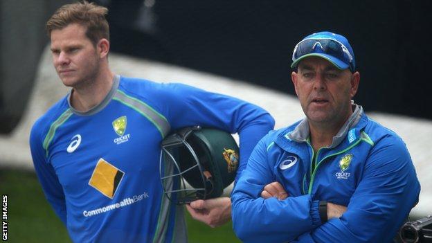 Australia coach Darren Lehmann (right) and captain Steve Smith