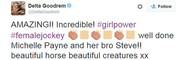 Tweet from Australian singer Delta Goodrem