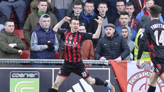 Cliftonville were also in title contention but Crusaders increased the gap on their north Belfast rivals with Paul Heatley on target in a 1-0 win at Solitude in February